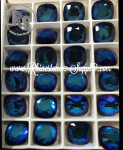 2470 12mm BERMUDA BLUE Vintage Fancy CUSHION Flatback Rhinestones