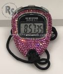Stopwatch by Accusplit with PINK (Rose) Rhinestones