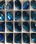 3230 BERMUDA BLUE 18mm x 10.5mm PEAR Sew On Rhinestones