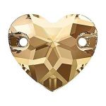 3259 16mm GOLDEN SHADOW Sew On HEART Rhinestones