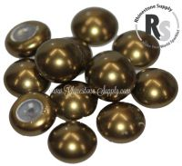 10mm Antique Brass Pearl Cabochon 5817 1/2 Drilled