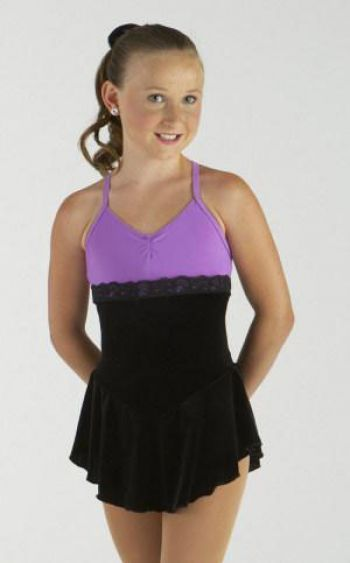 Black Velvet & Orchid (purple) with lace empire waist skating dress