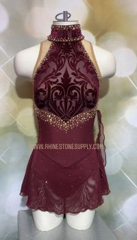 BEADED Brad Griffies Skating Dress 1908 WINE Velvet & Mesh