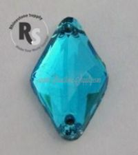 AQUAMARINE 18mm x 11mm Diamond SEW ON Rhinestone