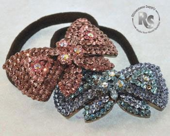 Pony Holder with Rhinestones BLUE or PINK BOW