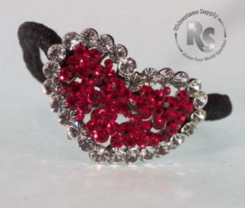 Pony Holder HEART in RED & Crystal Rhinestones