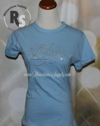 BLUE T Shirt with Ice Skate in Rhinestones