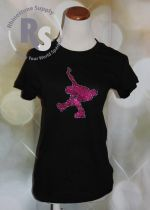 Ice Skater T shirt in Glitter PINK with rhinestones