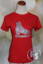 RED T Shirt with Ice Skate in Silver Glitter with rhinestones