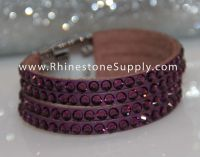 Bling Band Leather Rhinestone Bracelet