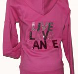 Pink LIVE LOVE DANCE Button front Hoodie with Rhinestones