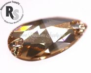 HONEY 18mm x 10.5mm Preciosa Sew On PEAR Flatback