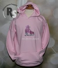 ICE SKATE Light Pink Glitter Hoodie with rhinestones GIRLS LARGE