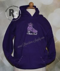 ICE SKATE Purple Glitter Hoodie with rhinestones GIRLS LARGE
