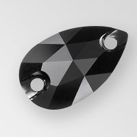 JET (Black) 18mm x 10.5mm Preciosa Sew On PEAR Flatback