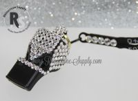 WHISTLE - Black or White with CRYSTAL Rhinestones & Lanyard