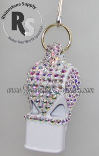 WHISTLE - White with CRYSTAL AB Rhinestones & Lanyard