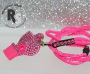 WHISTLE - PINK with ROSE Rhinestones & Lanyard