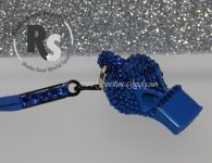 WHISTLE - Blue with CAPRI BLUE Rhinestones & Lanyard